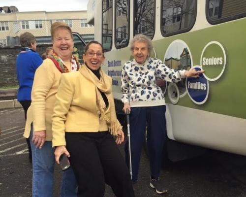 ladies and bus