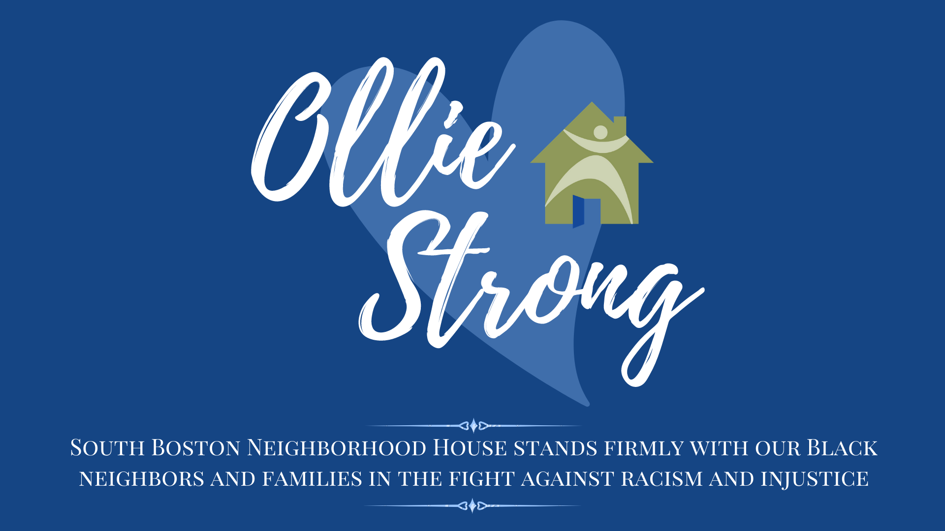ollie strong banner with antiracism statement